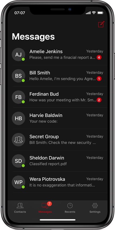 Silentel 7 - Secure Text messages
